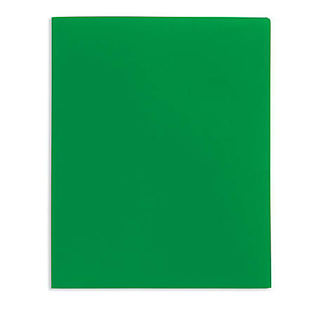 Office Depot® Brand School-Grade 2-Pocket Poly Folder, Letter Size, Green