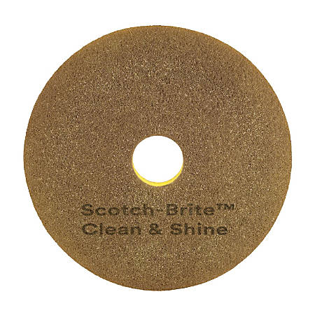 """Scotch-Brite™ Clean & Shine Floor Pads, 17"""", Yellow/Gold, Case Of 5"""