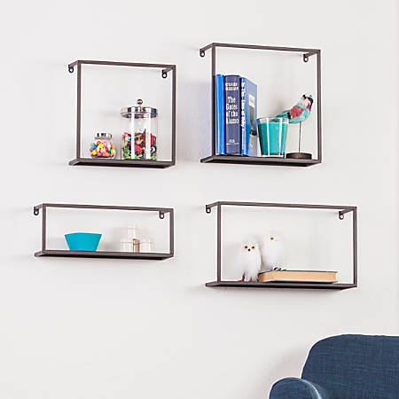 Holly & Martin Zyther Metal Shelves, Antique Black, Pack Of 4
