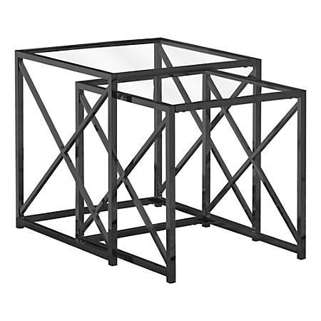 Monarch Specialties Tempered Glass Nesting Table Set, Black Nickel