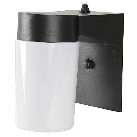 Luminance LED Cylinder Porch Fixture With Photocell, 9 Watts, 4000K/Cool White, 850 Lumen, Black/White Acrylic Lens