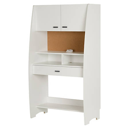South Shore Reevo Desk With Hutch and Storage, Pure White