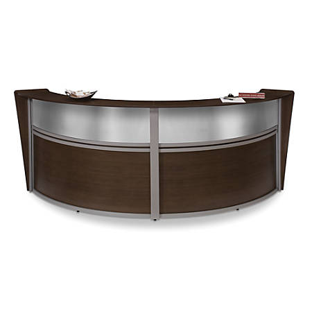 OFM Double-Marque Reception Station With Plexi, Walnut