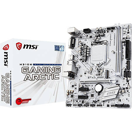 MSI H310M GAMING ARCTIC Desktop Motherboard - Intel H310 Chipset - Socket LGA-1151 - Micro ATX - 1 x Processor Support - 32 GB DDR4 SDRAM Maximum RAM - 2.67 GHz, 2.40 GHz, 2.13 GHz Memory Speed Supported - DIMM, UDIMM - 2 x Memory Slots - Serial ATA/600
