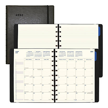 "Filofax® 17-month Planner, Twin-wire Binding With Flexible Leather-look Cover, 10-7/8"" X 8-1/2"", Black, August 2019 To December 2020"