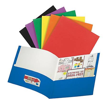 "Office Depot® Brand 2-Pocket Portfolio, 9 1/2"" x 11 1/2"", Assorted Colors"