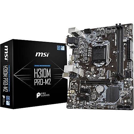 MSI H310M PRO-M2 Desktop Motherboard - Intel H310 Chipset - Socket LGA-1151 - Micro ATX - 1 x Processor Support - 32 GB DDR4 SDRAM Maximum RAM - 2.67 GHz, 2.40 GHz, 2.13 GHz Memory Speed Supported - DIMM, UDIMM - 2 x Memory Slots - Serial ATA/600