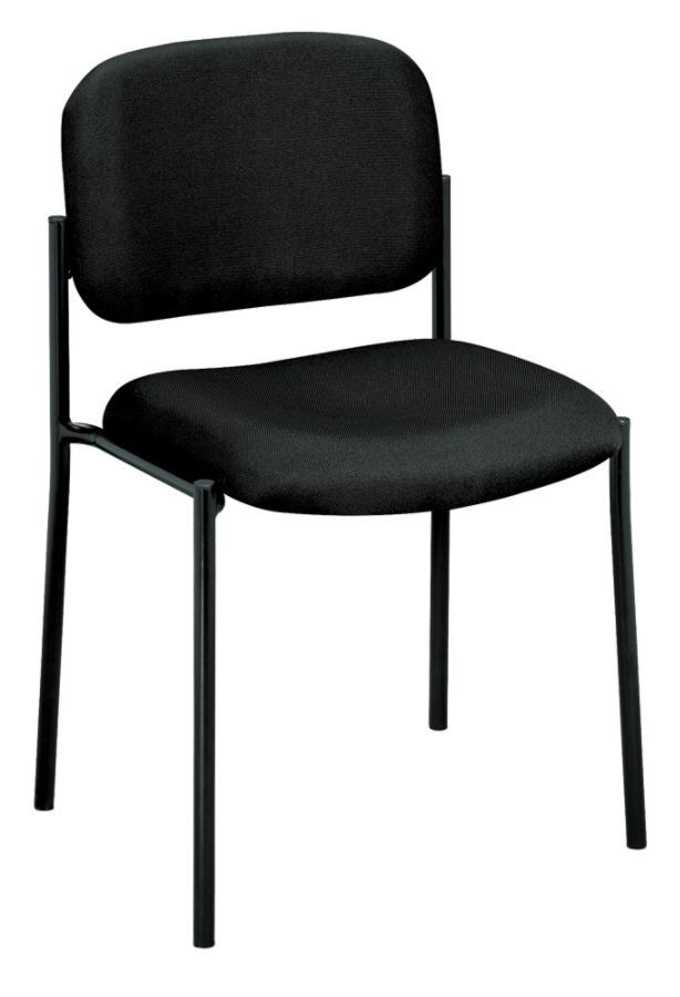HON Scatter Stacking Guest Chair, Armless, Fabric, Black 681259