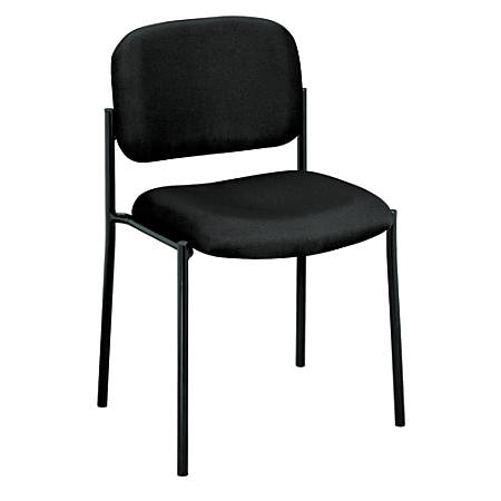 basyx by HON® Fabric Stacking Guest Chair With Leg Base, Black/