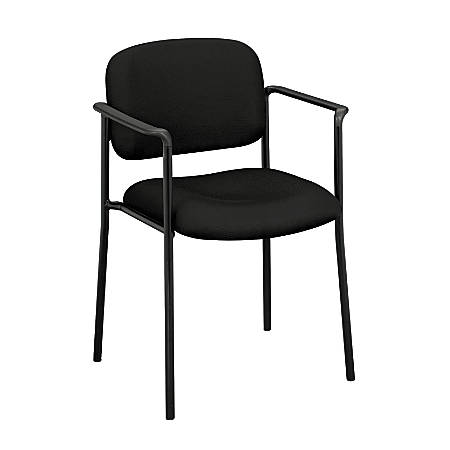 """basyx by HON® Stacking Guest Chair With Arms, 32 3/4""""H x 23 1/4""""W x 21""""D, Black Frame, Black Fabric"""