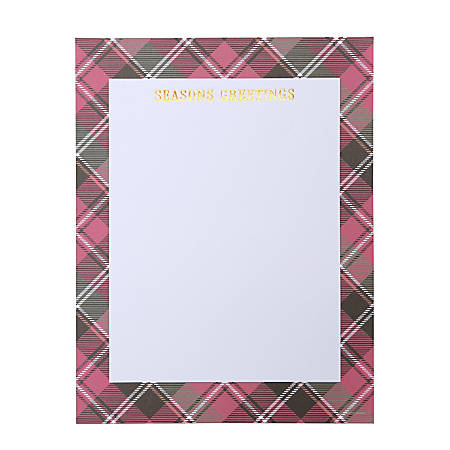 Gartner Studios Holiday Stationery, Letter Paper Size, Plaid/Seasons Greetings, 40 Sheets
