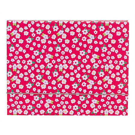 Office Depot Brand Fashion File Box, Letter Size, Magenta/White Floral
