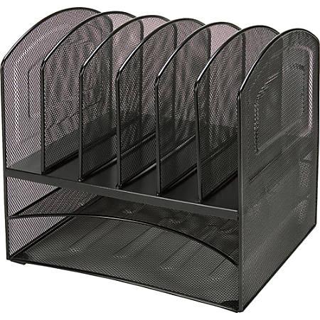 Lorell® Steel Horizontal/Vertical Mesh Desk Organizer, 8 Compartments, Black