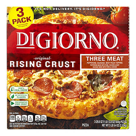 DiGiorno Rising Crust Frozen Pizzas, 3 Meat, 29.9 Oz, Pack Of 3 Pizzas