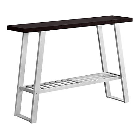 """Monarch Specialties Brittany Accent Table, 32""""H x 47-1/4""""W x 12""""D, Cappuccino/Silver"""