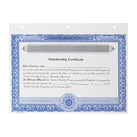 """LLC Membership Certificates, Non-Personalized, 3-Hole Punched, 8-1/2 x 11"""", Blue, Pack of 20"""
