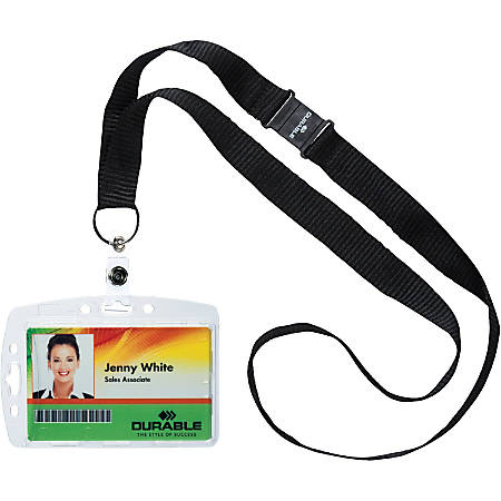 Durable Safety Lanyard Shell-Style ID Card Holders, Clear, Box Of 10