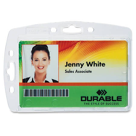 Durable 8005/8012/8268 Replacemt ID Card Holders, Clear, Box Of 10