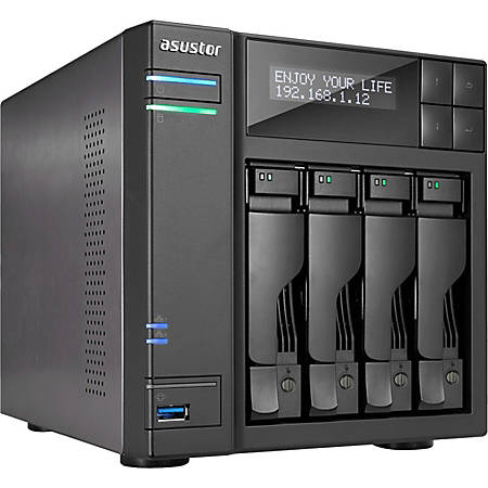 ASUSTOR SAN/NAS Storage System, Intel Celeron J3455 Quad-Core (4 Core), 8GB Memory, AS6404