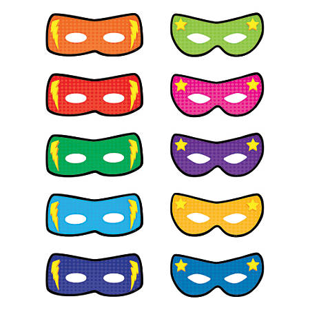 Teacher Created Resources Decorative Accents, Superhero Masks, Assorted Colors, Pre-K - Grade 8, Pack Of 30