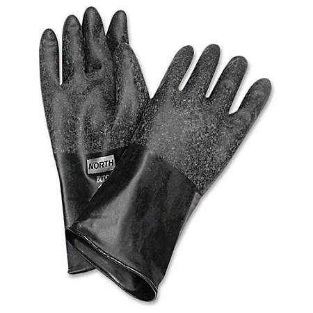 NORTH Butyl Chemical Protection Gloves - Chemical Protection - 9 Size Number - Butyl - Black - Water Resistant, Durable, Chemical Resistant, Ketone Resistant, Rolled Beaded Cuff, Comfortable, Abrasion Resistant, Cut Resistant, Tear Resistant, Punctur
