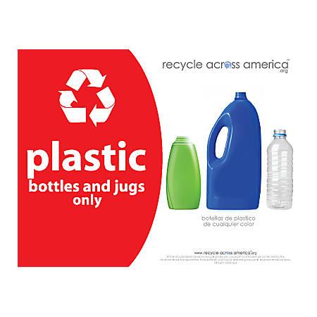 "Recycle Across America Plastics Standardized Recycling Label, PLAS-8511, 8 1/2"" x 11"", Red"
