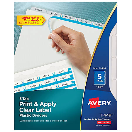 Avery® Print & Apply Clear Label Translucent Plastic Dividers with Index Maker® Easy Apply™ Printable Label Strip, 5 Frosted Clear Tabs
