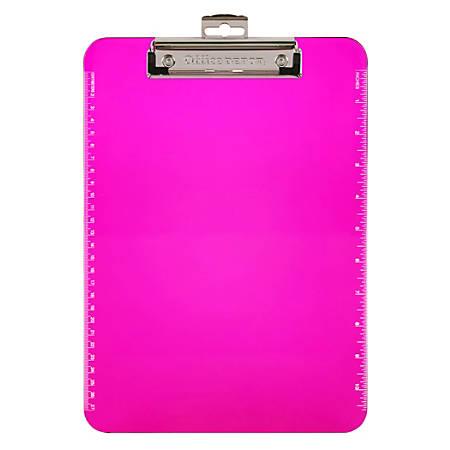 "Office Depot® Brand Plastic Clipboard, 8 1/2"" x 11"", Neon Pink"