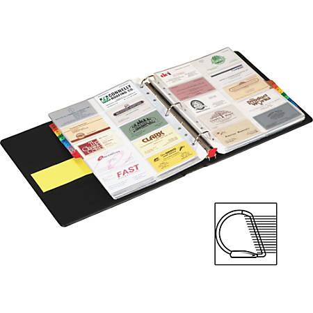 "Cardinal EasyOpen Card File Binder - 350 Capacity - 8.50"" Width x 11"" Length - 3-ring Binding - Refillable - Black Vinyl Cover"