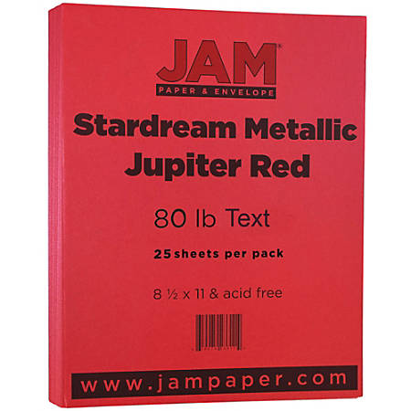 """JAM Paper® Printer Paper, Letter Size (8 1/2"""" x 11""""), 80 Lb, Red Metallic, Ream Of 25 Sheets"""