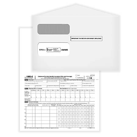 """ComplyRight 1095-C Employer-Provided Health Insurance Offer And Coverage Forms, Employee/IRS Copies With Envelopes, 1-Part, 8-1/2"""" x 11"""", Pack Of 50 Forms"""