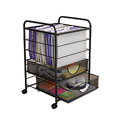 Neat Life Mesh Rolling File Cart With Drawers Black