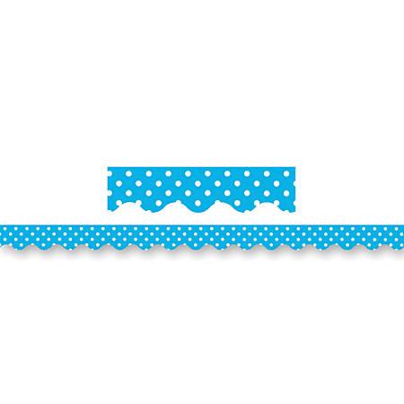 "Teacher Created Resources Border Trim, 2 3/16"" x 35"", Aqua Mini Polka Dots, Pre-K - College, Pack Of 12"