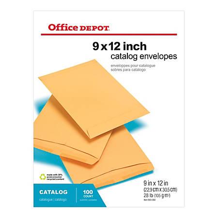 """Office Depot® Brand Catalog Envelopes, 9"""" x 12"""", Brown Kraft, Pack Of 100"""