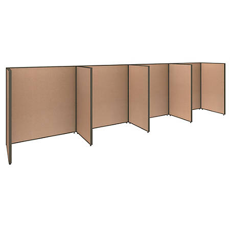 "Bush Business Furniture ProPanels 4-Person Open Cubicle Office, 67""H x 249 5/8""W x 76 1/8""D, Harvest Tan, Standard Delivery Service"
