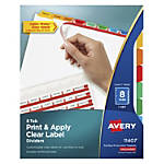 Avery® Print & Apply Clear Label Dividers With Index Maker® Easy Apply™ Printable Label Strip And Color Tabs, 8-Tab, Multicolor, 1 Set