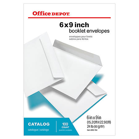 "Office Depot® Brand Booklet Envelopes, 6"" x 9"", White, Box Of 100"