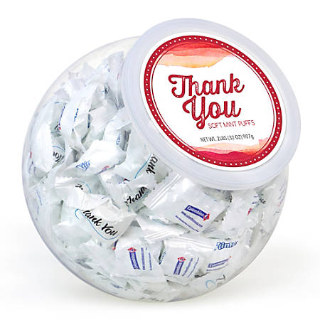 Cyber Sweetz Thank You Soft Mints Candy Bowls, Spearmint, 32 Oz