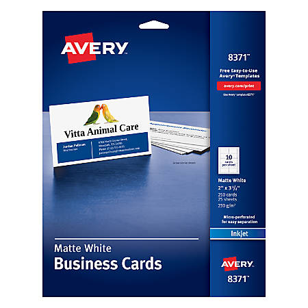 Avery inkjet microperforated business cards 2 x 3 12 matte white avery inkjet microperforated business cards 2 colourmoves