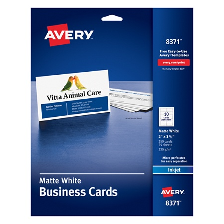 Avery Inkjet Microperforated Business Cards 2 X 3 12 Matte White