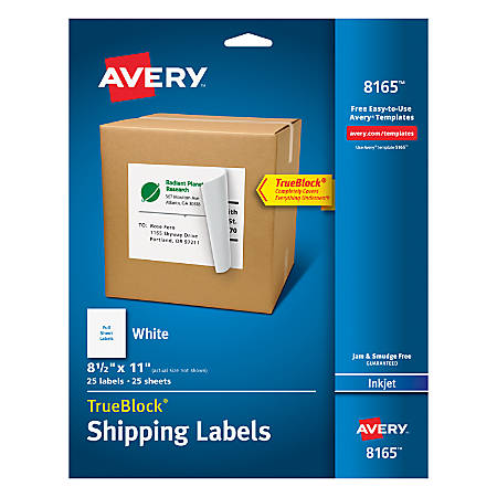 Avery Permanent Full Sheet Labels 8165 Inkjet 8 12 X 11