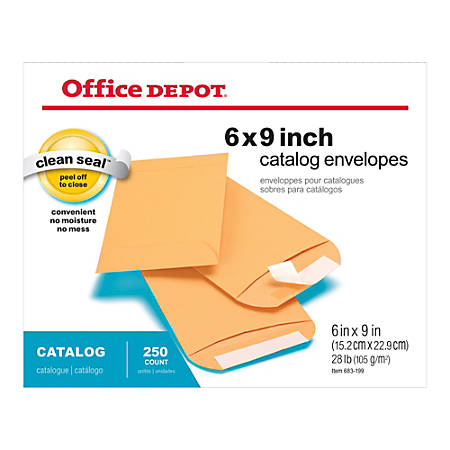 "Office Depot® Brand Clean Seal™ Catalog Envelopes, 6"" x 9"", Kraft Brown, Pack Of 250"