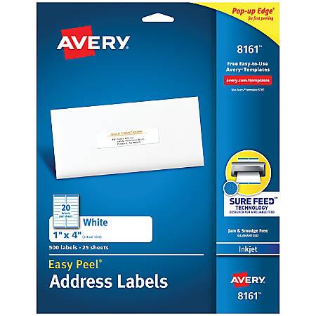"""Avery® Easy Peel® White Inkjet Address Labels, 8161, 1"""" x 4"""", Box Of 500"""