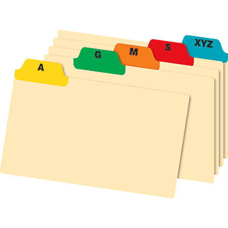 "Office Depot® Brand A-Z Poly Index Card Guide Set, 4"" x 6"", Multicolor, Set Of 25 Cards"