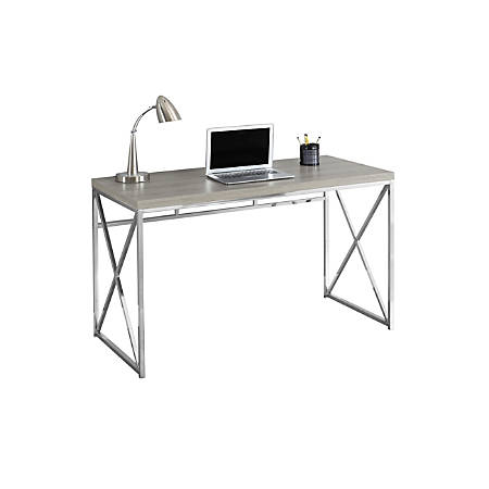 Monarch Specialties Contemporary Computer Desk With Framed Criss Cross Legs Chrome Dark Taupe
