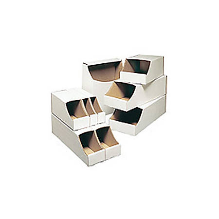 "Office Depot® Brand White Stackable Parts Bins, 4 1/2"" x 4"" x 18"", Pack Of 50"
