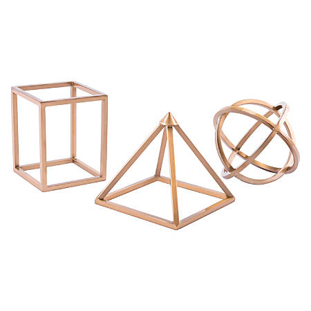 Zuo Modern Geo Shape Sculptures, Antique Brass, Set Of 3 Sculptures