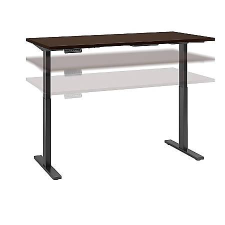 "Bush Business Furniture Move 60 Series 60""W x 30""D Height Adjustable Standing Desk, Mocha Cherry/Black Base, Premium Installation"