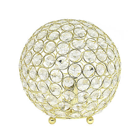 "Elegant Designs Crystal Ball Table Lamp, 8""H, Gold"