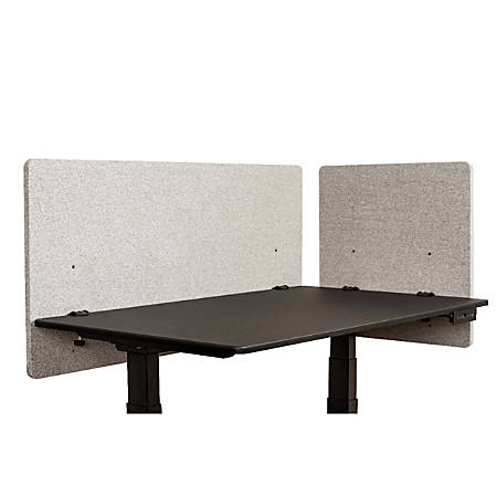 "Luxor RECLAIM Acoustic Privacy Desk Panels, 48""W, Misty Gray, Pack Of 2"